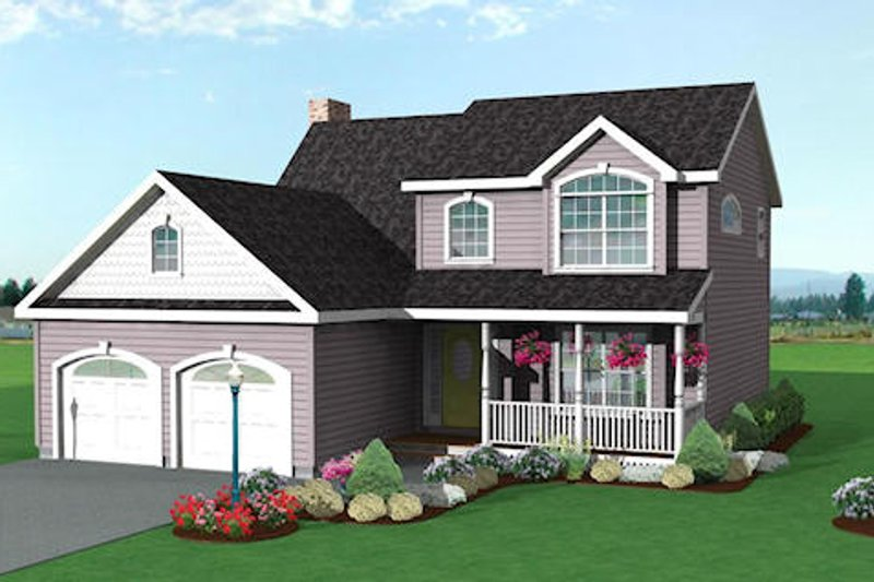 Traditional Style House Plan - 3 Beds 2.5 Baths 1521 Sq/Ft Plan #75-129 Exterior - Front Elevation