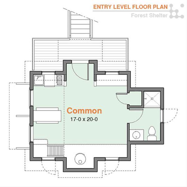 Cabin Floor Plan - Main Floor Plan Plan #556-2