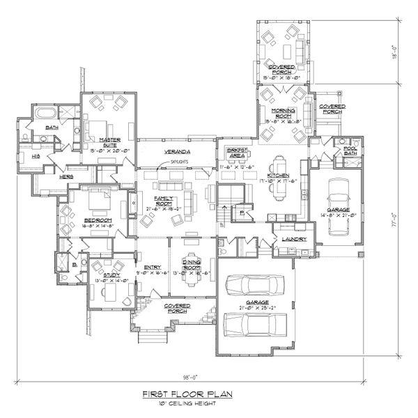 Contemporary Floor Plan - Main Floor Plan Plan #1054-32
