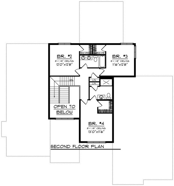 Modern Floor Plan - Upper Floor Plan Plan #70-1430