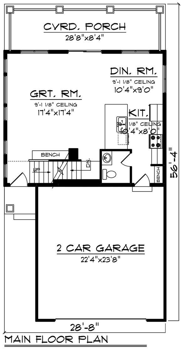 Craftsman Floor Plan - Main Floor Plan Plan #70-1492