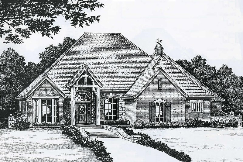 European Style House Plan - 4 Beds 3.5 Baths 2660 Sq/Ft Plan #310-847 Exterior - Front Elevation