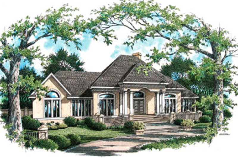 Southern Exterior - Front Elevation Plan #45-346