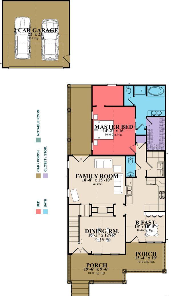 Southern Floor Plan - Main Floor Plan Plan #63-264