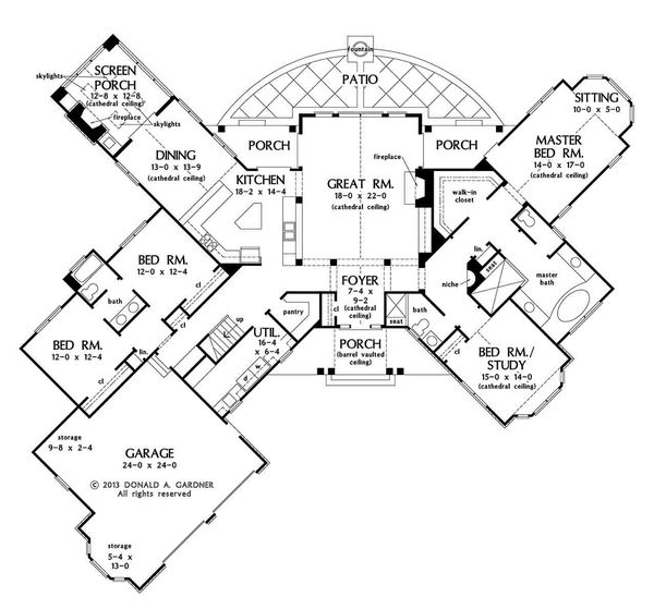 European Floor Plan - Main Floor Plan Plan #929-29