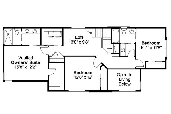 Modern Floor Plan - Upper Floor Plan Plan #124-922