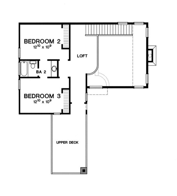 Modern Floor Plan - Upper Floor Plan Plan #472-7