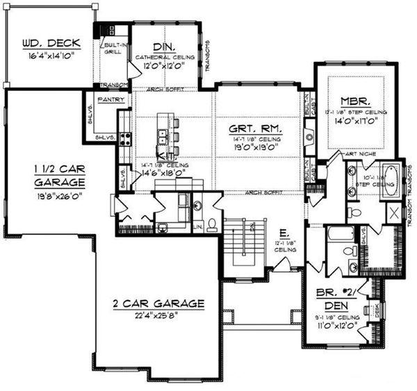 Craftsman Floor Plan - Main Floor Plan Plan #70-918