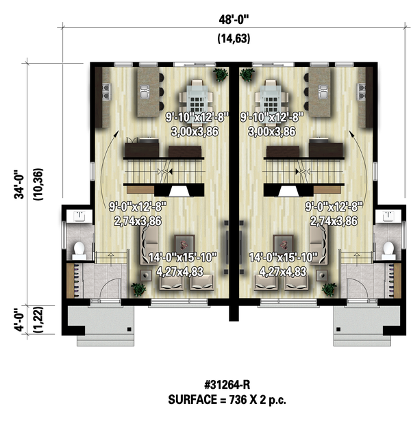 Contemporary Floor Plan - Main Floor Plan #25-4516
