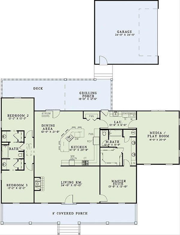 Southern Floor Plan - Main Floor Plan Plan #17-2473