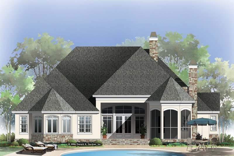 European Exterior - Rear Elevation Plan #929-21 - Houseplans.com