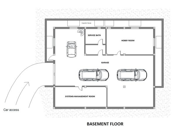 Contemporary Floor Plan - Lower Floor Plan Plan #542-12