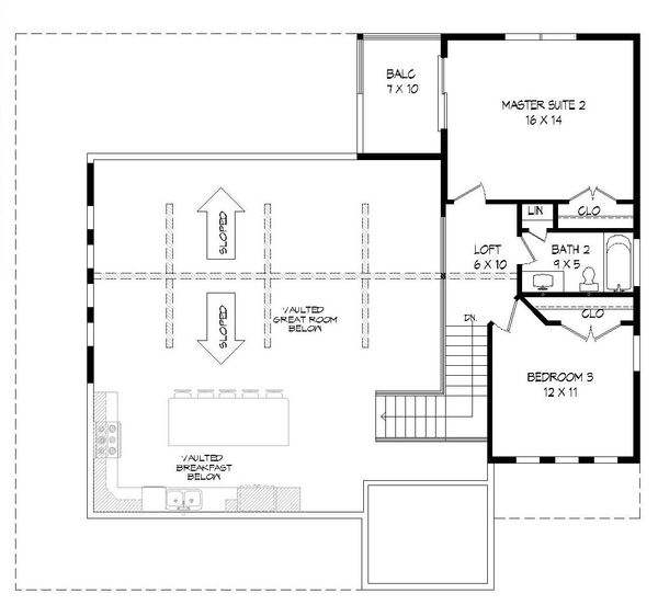 Cabin Floor Plan - Upper Floor Plan Plan #932-49