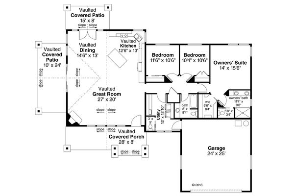 Country Floor Plan - Main Floor Plan Plan #124-1120