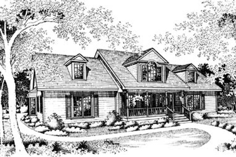 Traditional Style House Plan - 3 Beds 2 Baths 2301 Sq/Ft Plan #10-244 Exterior - Front Elevation