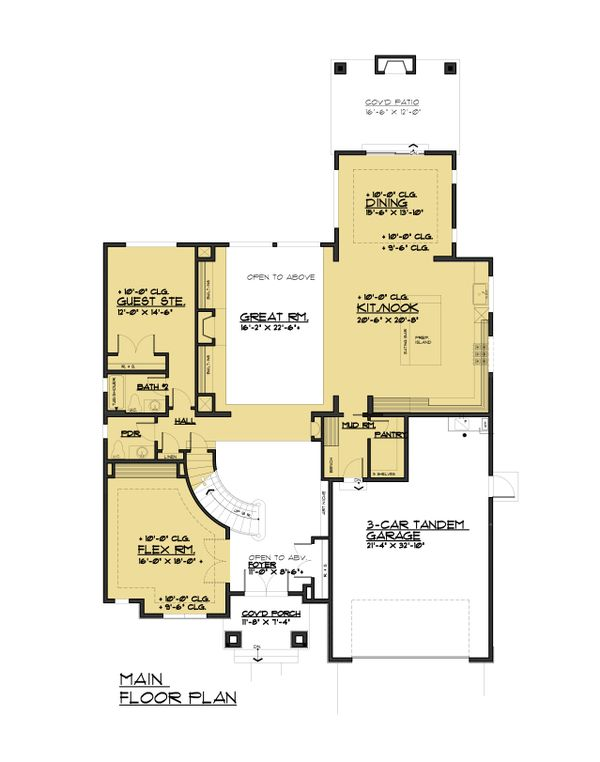 Traditional Floor Plan - Main Floor Plan Plan #1066-93