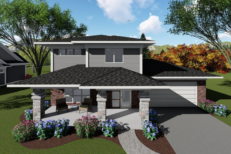 Home Plan - Modern Exterior - Front Elevation Plan #70-1413