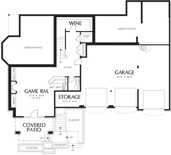 Craftsman Floor Plan - Lower Floor Plan Plan #48-665