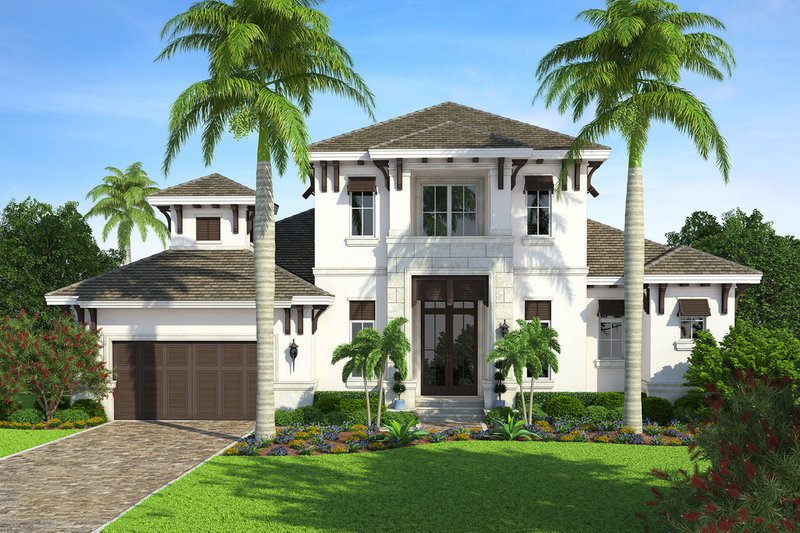 Beach Exterior - Front Elevation Plan #27-498