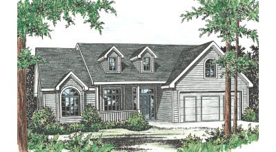 Traditional Style House Plan - 3 Beds 2 Baths 1875 Sq/Ft Plan #20-123 Exterior - Front Elevation
