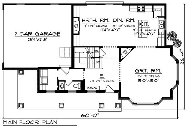 Country Floor Plan - Main Floor Plan Plan #70-1222