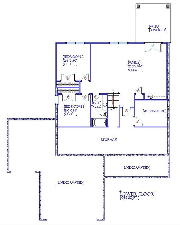 Traditional Floor Plan - Lower Floor Plan Plan #901-144
