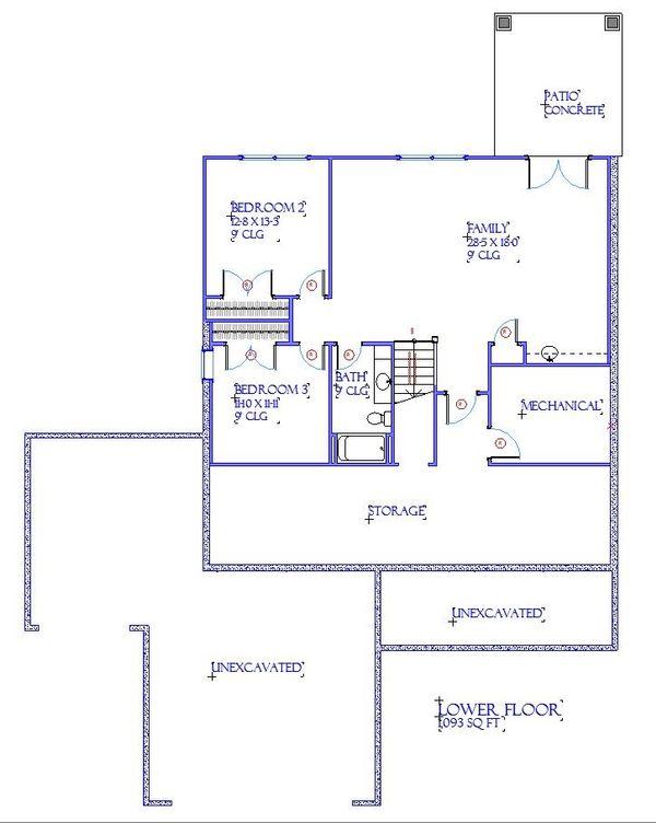 Traditional Floor Plan - Lower Floor Plan Plan #901-144