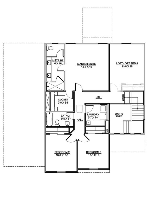 Southern Floor Plan - Upper Floor Plan #1073-21