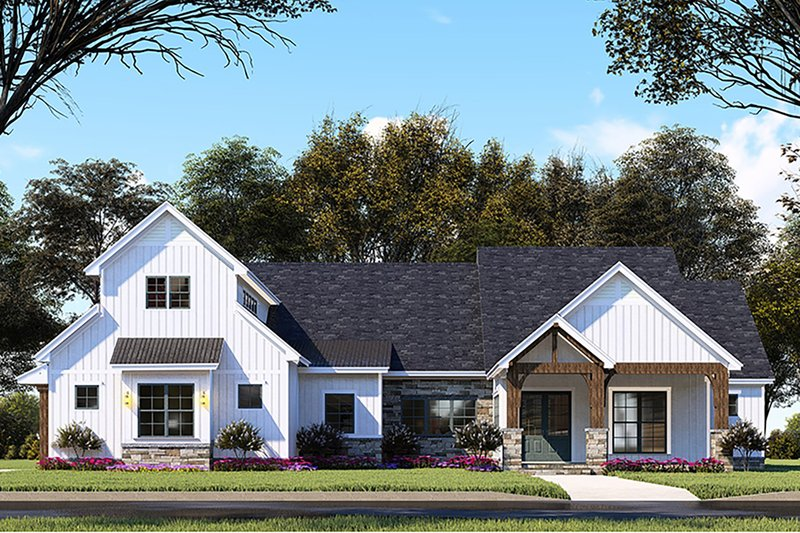 Architectural House Design - Country Exterior - Front Elevation Plan #923-130