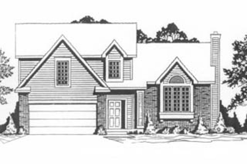 Traditional Style House Plan - 3 Beds 2.5 Baths 1225 Sq/Ft Plan #58-116 Exterior - Front Elevation