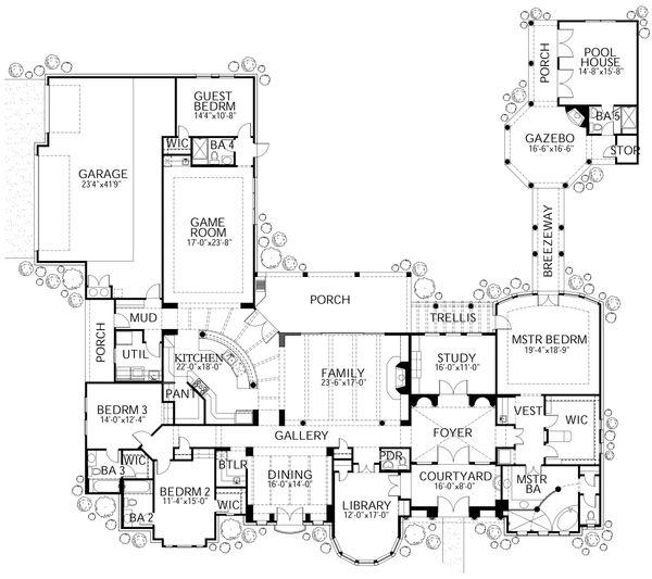 House Plan Design - Mediterranean Floor Plan - Main Floor Plan #80-124