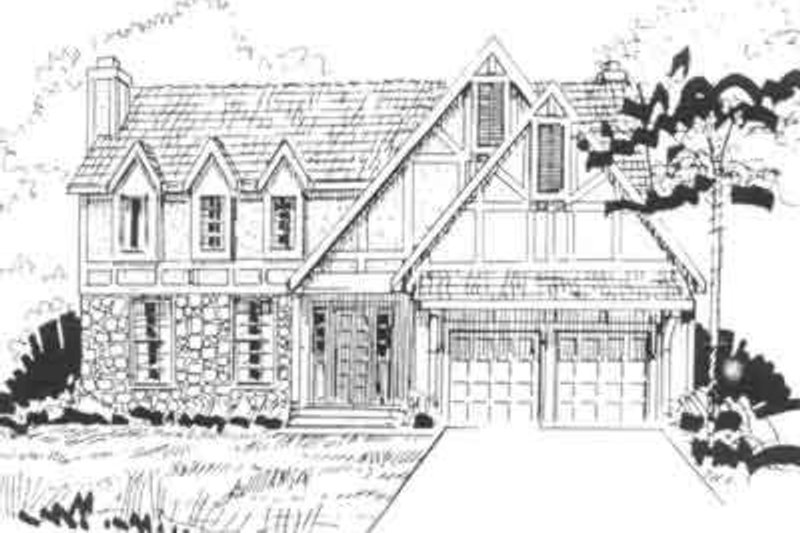 European Style House Plan - 4 Beds 2.5 Baths 2147 Sq/Ft Plan #405-135 Exterior - Front Elevation