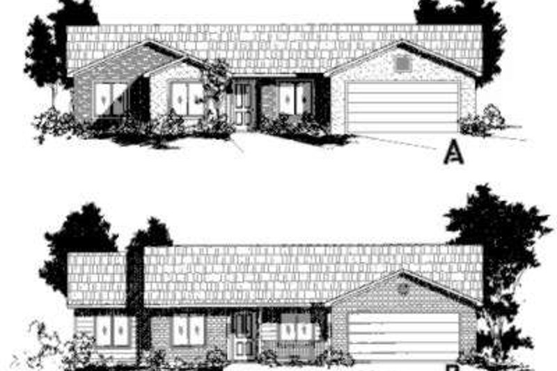Ranch Style House Plan - 4 Beds 2 Baths 1557 Sq/Ft Plan #24-194 Exterior - Front Elevation