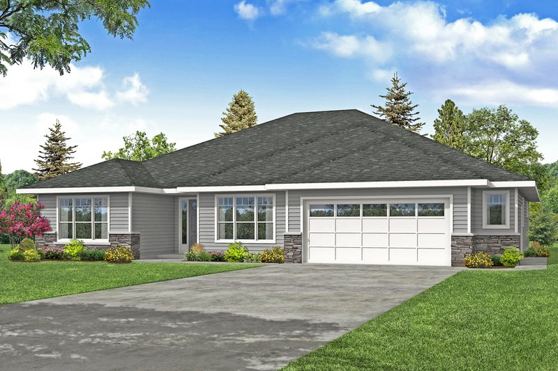 Dream House Plan - Prairie Exterior - Front Elevation Plan #124-1214