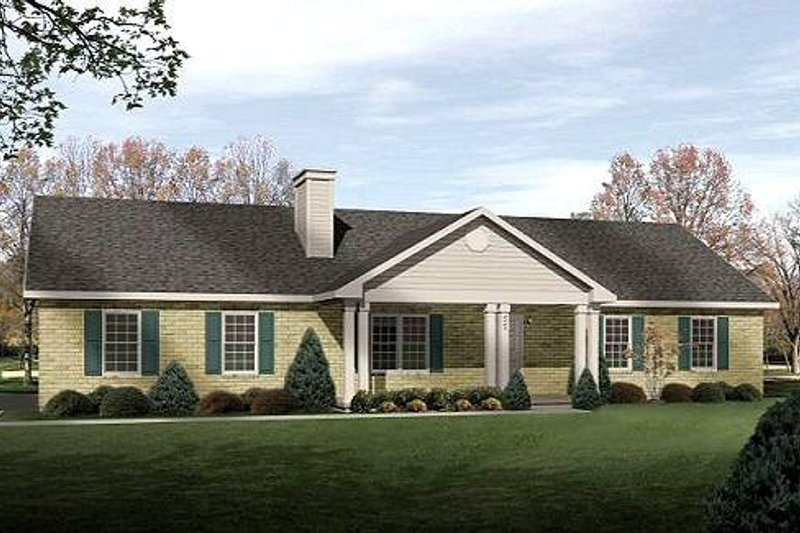Ranch Style House Plan - 3 Beds 2 Baths 1428 Sq/Ft Plan #22-538 Exterior - Front Elevation