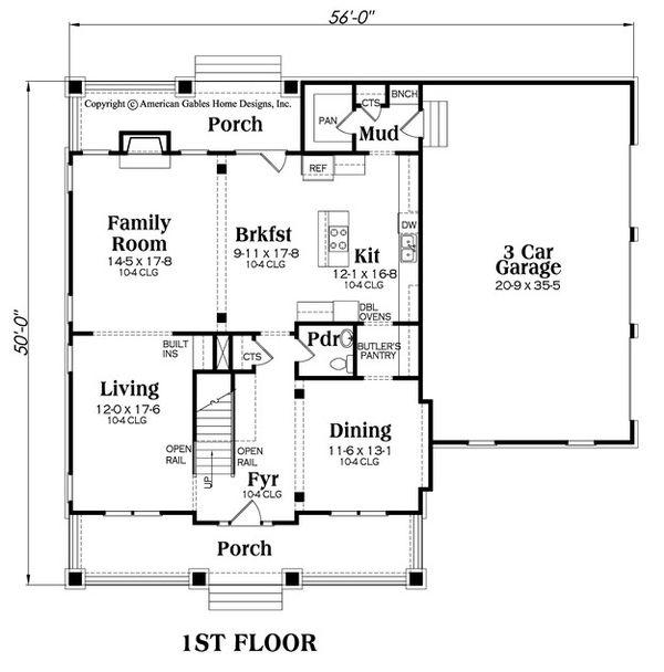Craftsman Floor Plan - Main Floor Plan Plan #419-282