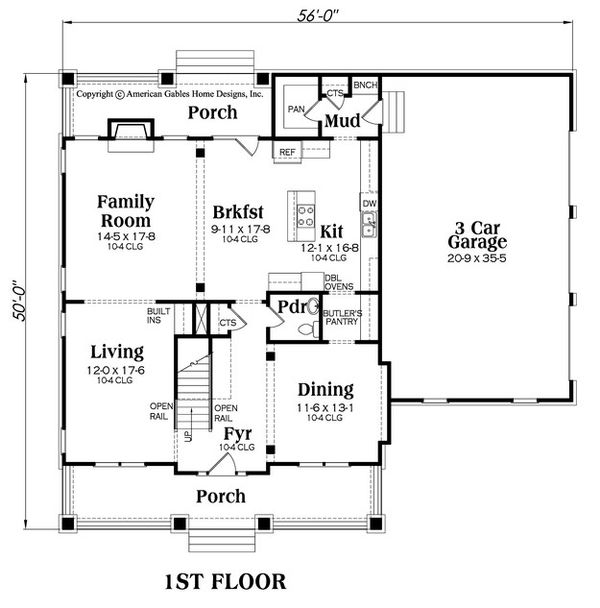 Craftsman Floor Plan - Main Floor Plan Plan #419-282