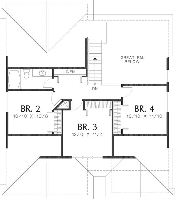 Craftsman Floor Plan - Upper Floor Plan Plan #48-439