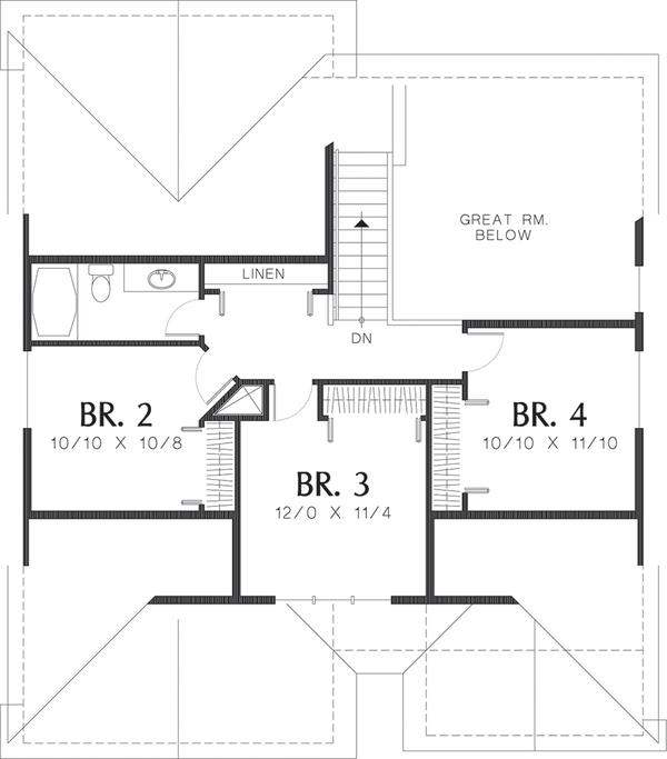 Craftsman Floor Plan - Upper Floor Plan Plan #48-439