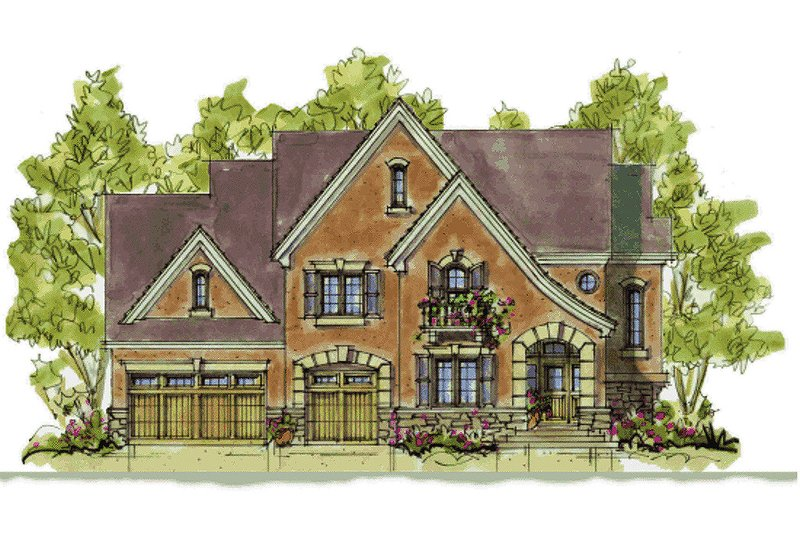 European Exterior - Front Elevation Plan #20-1393