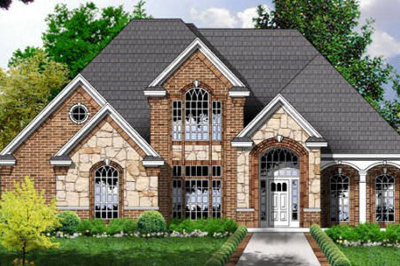 European Exterior - Front Elevation Plan #40-224
