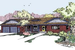 Ranch Exterior - Front Elevation Plan #60-553