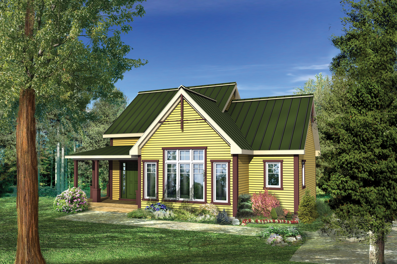 Country Style House Plan - 1 Beds 1 Baths 941 Sq/Ft Plan #25-4745 Exterior - Front Elevation