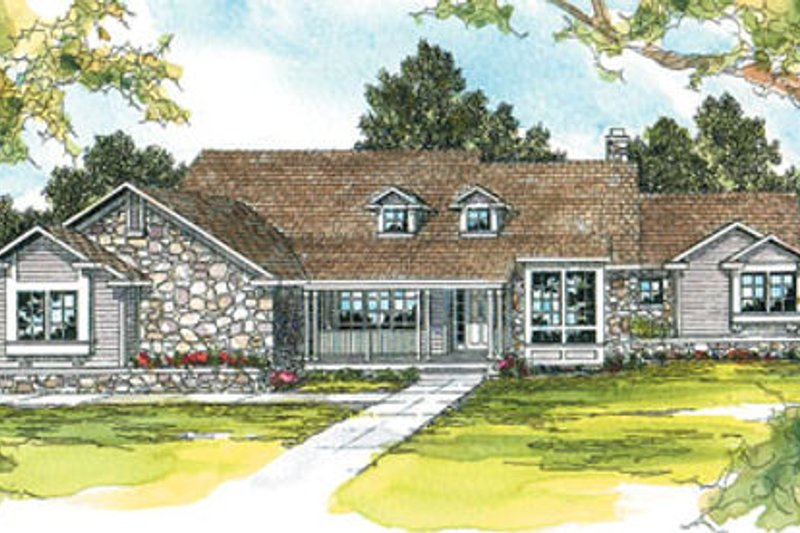 Ranch Exterior - Front Elevation Plan #124-206