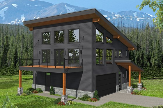 Modern Exterior - Front Elevation Plan #932-42
