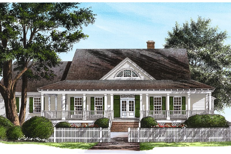 Southern Style House Plan - 4 Beds 3 Baths 2406 Sq/Ft Plan #137-246 Exterior - Front Elevation