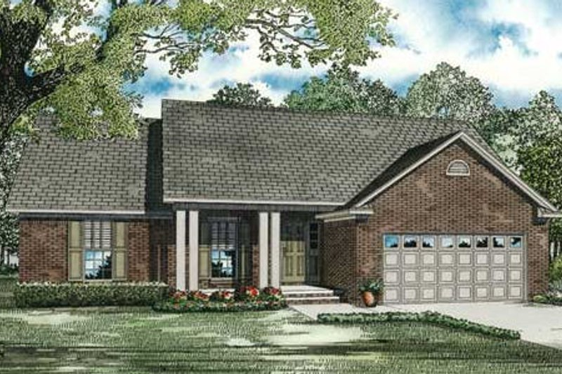 Traditional Style House Plan - 3 Beds 2 Baths 1525 Sq/Ft Plan #17-2292 Exterior - Front Elevation