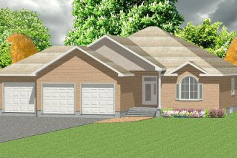 House Plan - 3 Beds 2 Baths 1871 Sq/Ft Plan #414-102 Exterior - Front Elevation