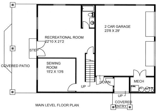 Country Floor Plan - Lower Floor Plan Plan #117-881