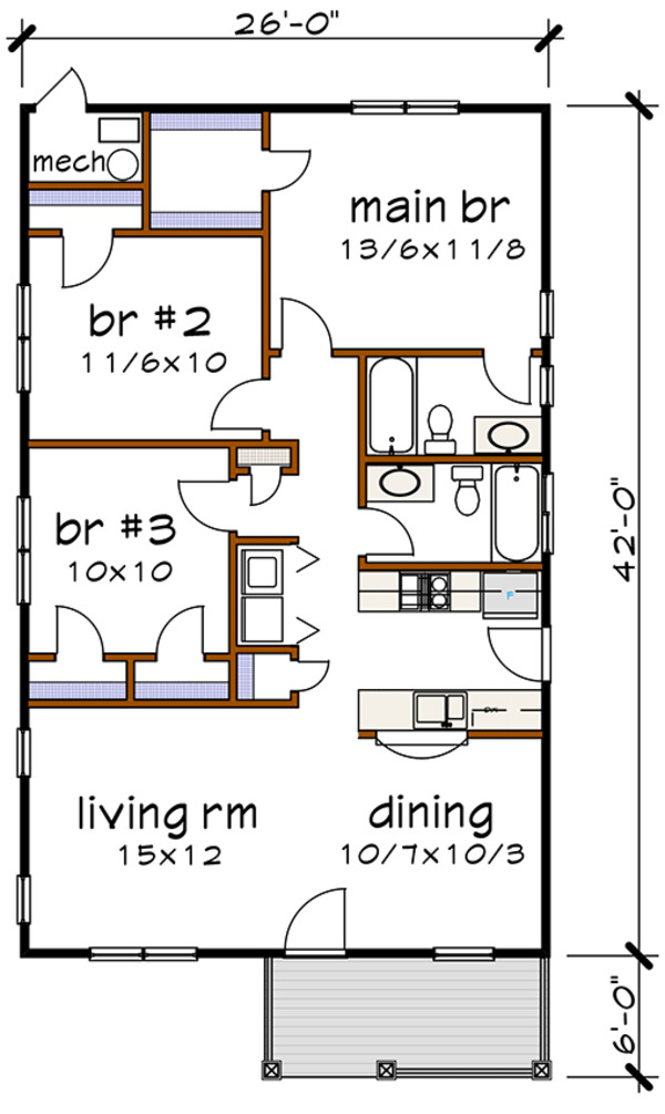 Cottage Floor Plan - Main Floor Plan Plan #79-115